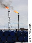 Купить «Сжигание попутного газа», фото № 852815, снято 7 мая 2009 г. (c) Анатолий Ефимов / Фотобанк Лори