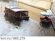 Купить «Кораблик под Карловым мостом в Праге. Зима, снегопад», фото № 865279, снято 5 января 2009 г. (c) Лошкарев Антон / Фотобанк Лори