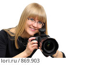Купить «Девушка фотограф», фото № 869903, снято 2 мая 2009 г. (c) Виталий Меркулов / Фотобанк Лори