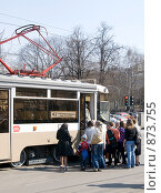 Купить «Московский трамвай», фото № 873755, снято 27 апреля 2009 г. (c) urchin / Фотобанк Лори