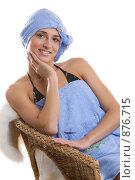 Купить «Девушка в кресле с полотенцем на голове», фото № 876715, снято 24 марта 2009 г. (c) Кувшинников Павел / Фотобанк Лори