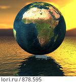 Купить «Земной шар на поверхности воды», иллюстрация № 878595 (c) Alperium / Фотобанк Лори