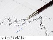 Ручка на финансовом графике. Стоковое фото, фотограф Вячеслав Зитев / Фотобанк Лори