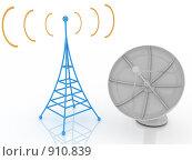 Купить «Спутниковая тарелка и радиовышка», иллюстрация № 910839 (c) Арсений Васильев / Фотобанк Лори