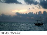 Лодка на закате, Мальдивы (2007 год). Стоковое фото, фотограф Васильева Татьяна / Фотобанк Лори