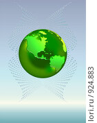 Купить «Стилизованная зеленая планета на голубом фоне», иллюстрация № 924883 (c) Марина Рядовкина / Фотобанк Лори