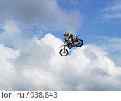 Прыжок на мотоцикле. Стоковое фото, фотограф Николайчук Антон / Фотобанк Лори