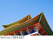 Купить «Фрагмент крыши здания Иволгинского дацана, Бурятия Улан-Удэ(пагода)», фото № 964667, снято 8 июня 2009 г. (c) Александр Подшивалов / Фотобанк Лори