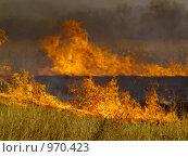 Купить «Осеннее поле с горящей травой», фото № 970423, снято 9 апреля 2009 г. (c) Олег Рубик / Фотобанк Лори