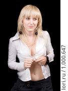 Купить «Девушка в белой блузке», фото № 1000647, снято 4 сентября 2008 г. (c) Сергей Сухоруков / Фотобанк Лори