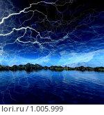 Купить «Фантастический 3d пейзаж. Молния», иллюстрация № 1005999 (c) ElenArt / Фотобанк Лори