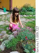 Купить «Девочка, альпийская горка», фото № 1009727, снято 1 августа 2009 г. (c) Tamara Sushko / Фотобанк Лори