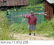 Купить «Бабушка с хворостом», фото № 1012235, снято 26 июля 2009 г. (c) Мария Николаева / Фотобанк Лори