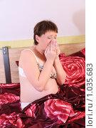 Купить «Беременная женщина чихает», фото № 1035683, снято 1 мая 2009 г. (c) Vdovina Elena / Фотобанк Лори