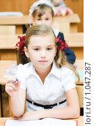 Купить «Ученица начальной школы», фото № 1047287, снято 20 августа 2009 г. (c) Евгений Захаров / Фотобанк Лори