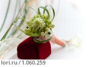 Купить «Свадебный букет и футляр для колец», фото № 1060259, снято 8 августа 2009 г. (c) Фадеева Марина / Фотобанк Лори