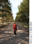 Купить «Одинокая женщина на пустынной дороге», фото № 1064583, снято 4 октября 2008 г. (c) Юрий Синицын / Фотобанк Лори