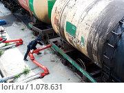 Купить «Нефтебаза. Железнодорожные цистерны с топливом. Приемка и слив горючего в цистерны», фото № 1078631, снято 26 августа 2009 г. (c) Александр Подшивалов / Фотобанк Лори