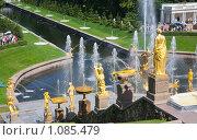 Купить «Фонтаны в Петергофе», фото № 1085479, снято 30 июля 2009 г. (c) Яков Филимонов / Фотобанк Лори