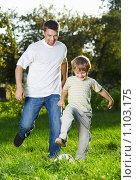 Купить «Игра в футбол», фото № 1103175, снято 10 сентября 2009 г. (c) Raev Denis / Фотобанк Лори