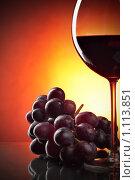 Купить «Красное вино и виноград», фото № 1113851, снято 2 сентября 2009 г. (c) Роман Сигаев / Фотобанк Лори