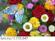 Купить «Цветочная композиция и искусственные бабочки», фото № 1115947, снято 8 сентября 2007 г. (c) Александр Паррус / Фотобанк Лори