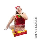 Купить «Девушка с новогодними подарками», фото № 1124535, снято 29 сентября 2009 г. (c) Яков Филимонов / Фотобанк Лори
