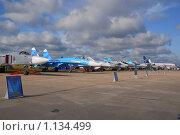 Купить «Авиасалон МАКС-2009. Су-24, Су-27», эксклюзивное фото № 1134499, снято 19 августа 2009 г. (c) Алёшина Оксана / Фотобанк Лори