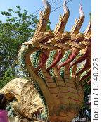 Купить «Таиланд, Патая, змей Наг около буддийского храма», фото № 1140223, снято 15 марта 2009 г. (c) Елена Воронкова / Фотобанк Лори