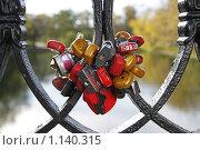 Купить «Свадебные замочки на ограде моста в Новодевичьем парке», фото № 1140315, снято 7 октября 2009 г. (c) Игорь Долгов / Фотобанк Лори