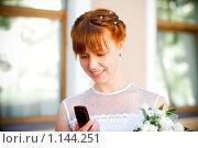 Красивая девушка смотрит на мобильный телефон. Стоковое фото, фотограф Полина Бублик / Фотобанк Лори