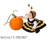Купить «Маленькая девочка в костюме пчелки играет с тыквой», фото № 1150967, снято 29 октября 2008 г. (c) Ирина Кожемякина / Фотобанк Лори