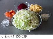 Купить «Нарезанные капуста, морковка, картошка, лук и свекла для борща», фото № 1155639, снято 17 сентября 2008 г. (c) Лилия Барладян / Фотобанк Лори