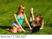 Две девушки на зеленом лугу с ноутбуком. Стоковое фото, фотограф Вадим Литвиненко / Фотобанк Лори