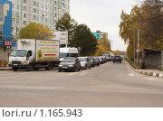 Купить «Пробка на выезде из г.Щербинка на Варшавское шоссе», фото № 1165943, снято 16 октября 2009 г. (c) Цветков Виталий / Фотобанк Лори