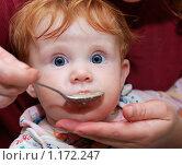 Купить «Малыша кормят с ложки», фото № 1172247, снято 4 сентября 2009 г. (c) Дмитрий Калиновский / Фотобанк Лори