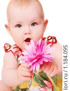 Купить «Девочка с розовым цветком», фото № 1184095, снято 23 октября 2008 г. (c) Алена Роот / Фотобанк Лори