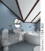 Купить «3D-интерьер голубой ванной комнаты в классическом стиле», иллюстрация № 1184363 (c) Майер Георгий Владимирович / Фотобанк Лори
