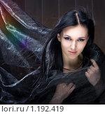 Купить «Молодая красивая девушка с чёрными волосами в образе колдуньи», фото № 1192419, снято 11 октября 2009 г. (c) Юлия Колтырина / Фотобанк Лори