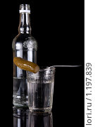 Купить «Бутылка водки, стакан и закуска. Изолировано на черном фоне», фото № 1197839, снято 1 ноября 2009 г. (c) Михаил Котов / Фотобанк Лори