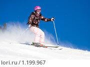 Купить «Девушка на горных лыжах на фоне яркого синего неба», фото № 1199967, снято 23 февраля 2009 г. (c) Петр Кириллов / Фотобанк Лори