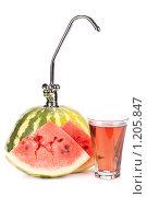 Купить «Аппетитный арбуз с краном и стакан свежего сока на белом фоне», фото № 1205847, снято 18 августа 2009 г. (c) Мельников Дмитрий / Фотобанк Лори
