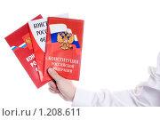 Купить «Три издания Конституции Российской Федерации в руке», фото № 1208611, снято 11 ноября 2009 г. (c) Юлия Сайганова / Фотобанк Лори