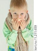 Купить «Мальчик закрывает нос платком», фото № 1211659, снято 23 января 2019 г. (c) Типляшина Евгения / Фотобанк Лори