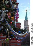 Купить «Елочные игрушки на фоне Кремлевской Башни», эксклюзивное фото № 1212727, снято 19 декабря 2008 г. (c) lana1501 / Фотобанк Лори