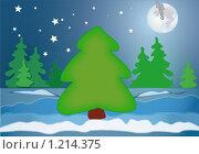 Елка в лесу. За несколько минут до Нового года. Стоковая иллюстрация, иллюстратор Алексей Росляков / Фотобанк Лори