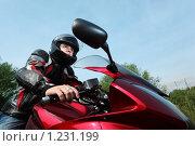 Купить «Мотоциклист», фото № 1231199, снято 9 сентября 2009 г. (c) Losevsky Pavel / Фотобанк Лори