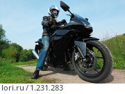 Купить «Мотоциклист», фото № 1231283, снято 9 сентября 2009 г. (c) Losevsky Pavel / Фотобанк Лори