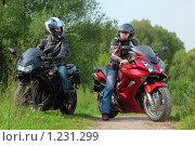Купить «Два мотоциклиста на мотоциклах», фото № 1231299, снято 9 сентября 2009 г. (c) Losevsky Pavel / Фотобанк Лори