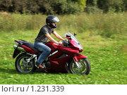 Купить «Мотоциклист», фото № 1231339, снято 9 сентября 2009 г. (c) Losevsky Pavel / Фотобанк Лори